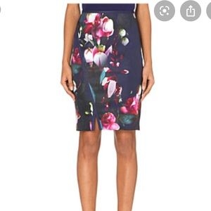 Ted Baker (Grettia) Navy Floral Pencil Skirt